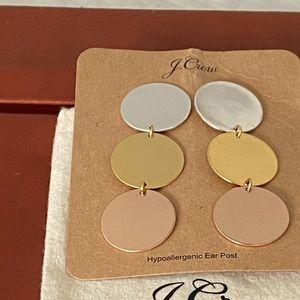 NWT JCrew Silver, Gold, & Rose Gold Earrings